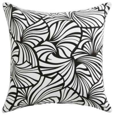 Florence Broadhurst Japanese Fans Black Cushion 22x22 (Outdoor)