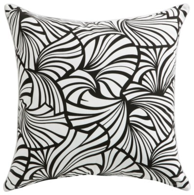 Florence Broadhurst Japanese Fans Black Cushion 22x22 (Outdoor)