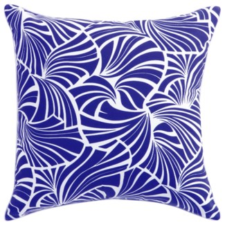 Florence Broadhurst Japanese Fans Cobalt Cushion 22x22 (Outdoor)