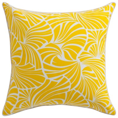 Florence Broadhurst Japanese Fans Yellow Cushion 22x22 (Outdoor)