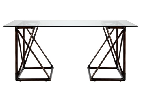 Riva Desk W/Glass Top - Clove
