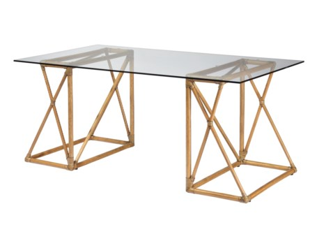 Riva Desk W/Glass Top - Nutmeg