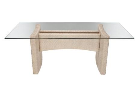 Riva Rectangular Dining Table Base, Hourglass Weave - Salt