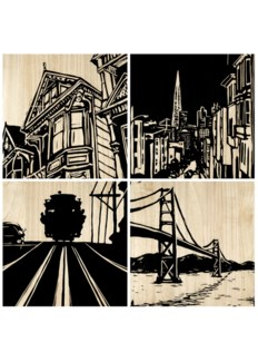 San Francisco City Panel (set of 4) - Black