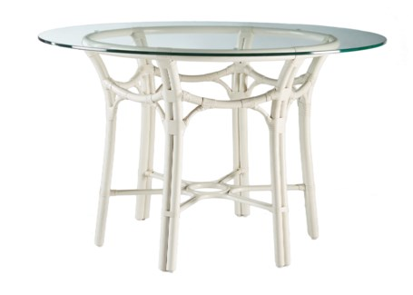 "Taylor 48"" Dining Table Base W/ Glass Top - White"