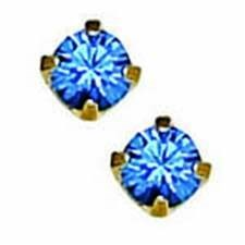 CR INV 3MM SAPPHIRE EARRINGS/ PR 24KT PLATED