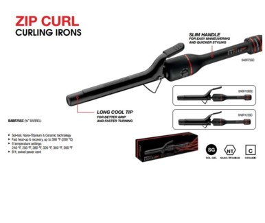 "DA BP RAPIDO 3/4"" CURLING IRON-SPRING HANDLE"