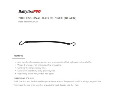 DA PROF HAIR BUNGEE, BLACK, 12/BAG