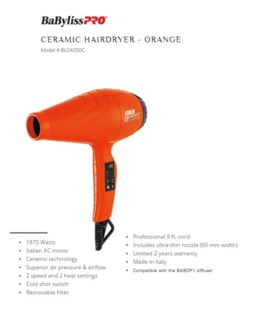 DA BP ITALO LUMINOSO HAIRDRYER - ORANGE