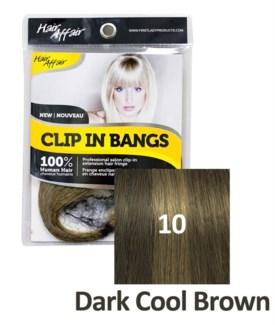 FIRST LADY HAIR AFFAIR CLIP IN BANGS #10 DARK COOL BROWN