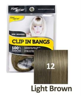 FIRST LADY HAIR AFFAIR CLIP IN BANGS #12 LIGHT BROWN