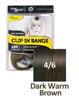 FIRST LADY HAIR AFFAIR CLIP IN BANGS #4/6 DARK WARM BROWN