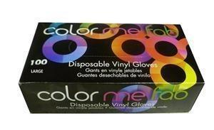FO COLOR ME FAB DISPOSABLE VINYL GLOVES - LARGE/100 BOX