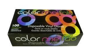FO COLOR ME FAB DISPOSABLE VINYL GLOVES - MEDIUM/100 BOX