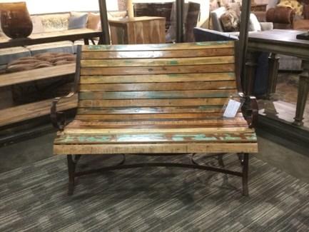 Reclaimed Wood Iron Garden Bench
