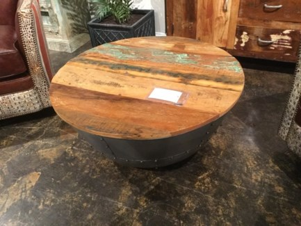 Reclaimed Wood Iron Round Coffee Table