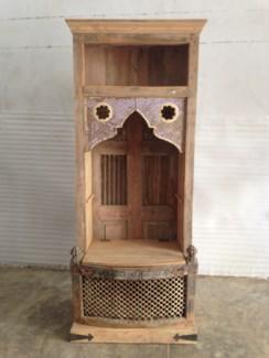 Reclaimed Wood Old Door Glass Bookshelf