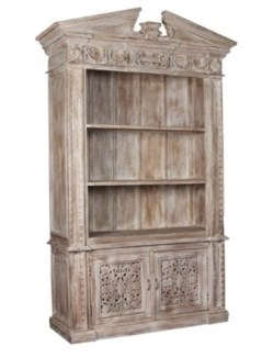 Reclaimed Wood Carved Bookcase