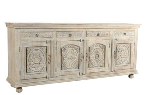 Reclaimed Wood Carved Sideboard