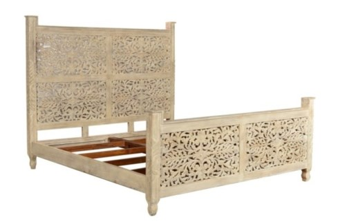 Reclaimed Wood Carved Bed