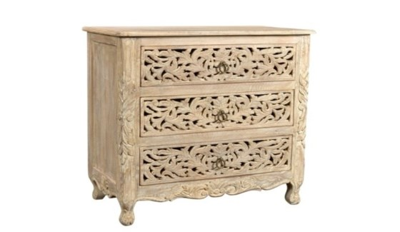 Reclaimed Wood Carved Nightstand
