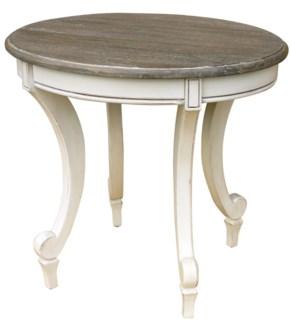 SIENA OVAL END TABLE-WHT/RW+