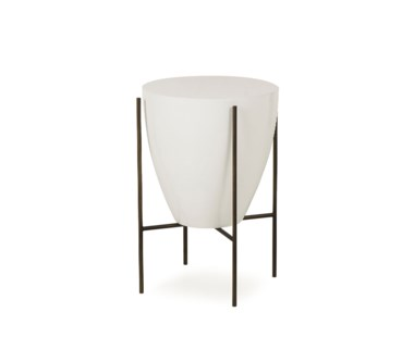 "Danica Side Table - 17"" Diameter Filter Design - White Lacquer"