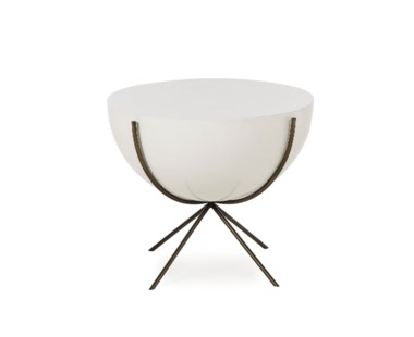 "Danica Side Table - 24"" Diameter Bowl Design - White Lacquer"