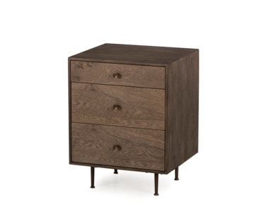 Matilda Nightstand - 3 Drawer / Silver