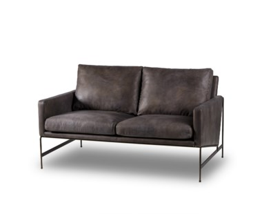 Vanessa 2 Seater Sofa - Destroyed Black Leather (UK)