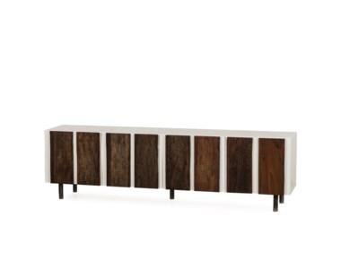 Santos Media Console Table - 4 Door / White Acrylic