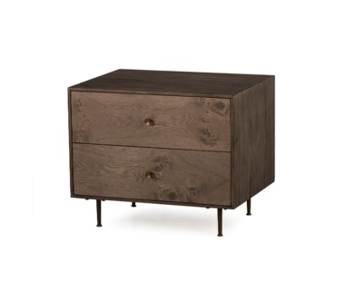 Matilda Nightstand - 2 Drawer / Silver