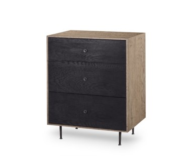 Matilda Nightstand - 3 Drawer / Black