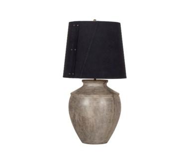 Evian Floor Lamp - XL Blue Canvas Shade