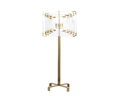 Spiral Acrylic Floor Lamp - Brass