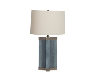 Shagreen Lamp - Baby Blue / White Shade