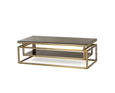 Drop Shelf Coffee Table - Smoked Glass