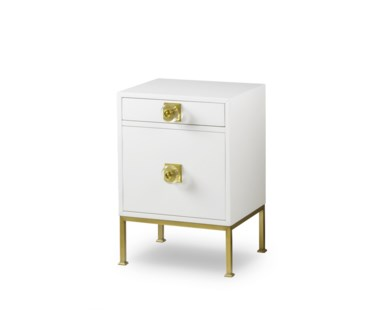 Formal Nightstand - Eloquent White Lacquer