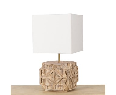 Amaze Carved Lamp - Bleached