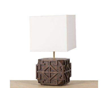 Amaze Carved Lamp - Brown