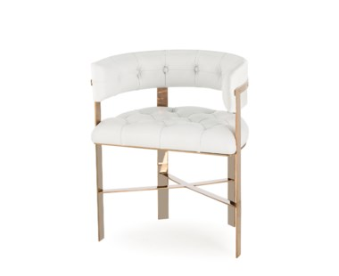 Art Dining Chair Tufted - White Leather/Mirrored Brass