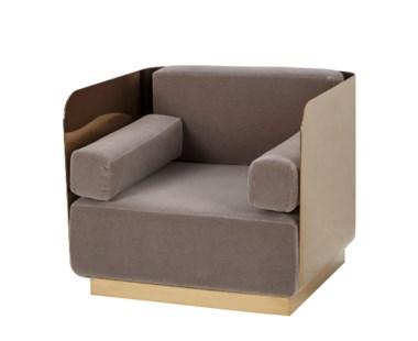 Vinci Occasional Chair - Mohair / Mirrored Brass