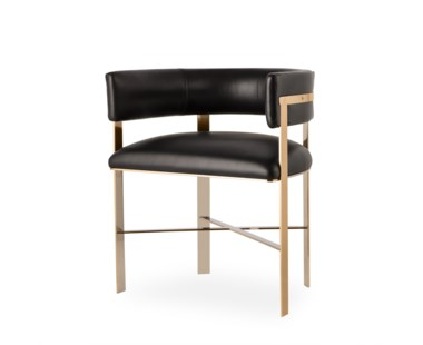 Art Dining Chair - Black Leather/Mirrored Brass