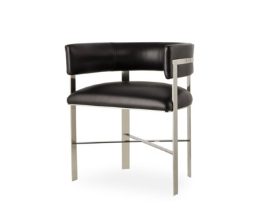 Art Dining Chair - Black Leather/ Stainless Steel