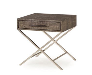 Randolph Side Table - Charcoal Shagreen