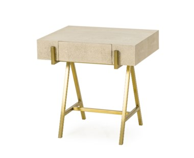 Delilah Side Table - Cream Shagreen