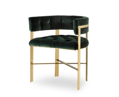 Art Dining Chair -  Mirrored Brass / Tufted / Grade 1