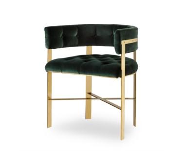 Art Dining Chair -  Mirrored Brass / Tufted / Grade 1