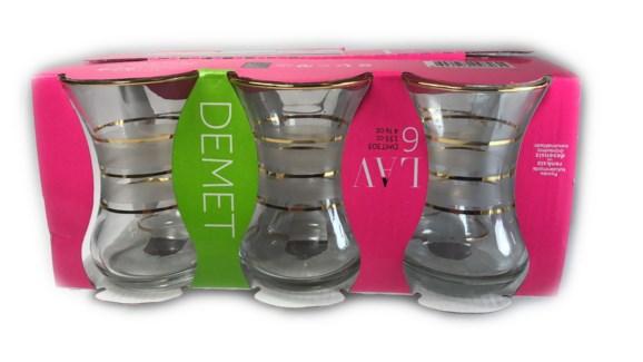 DMT 303 ZEBRA YALDIZ TEA GLASS 6PCSX8