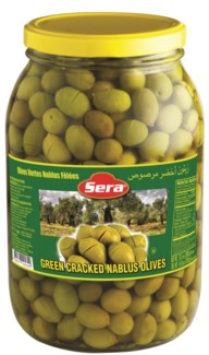 GREEN CRACKED OLIVES NABLUS 2KGx6